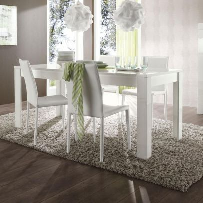 Jedálenský stôl URBINO-T180 biely vysoký lesk