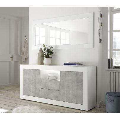 Komoda URBINO-A korpus biely lak lesk, dvierka betón